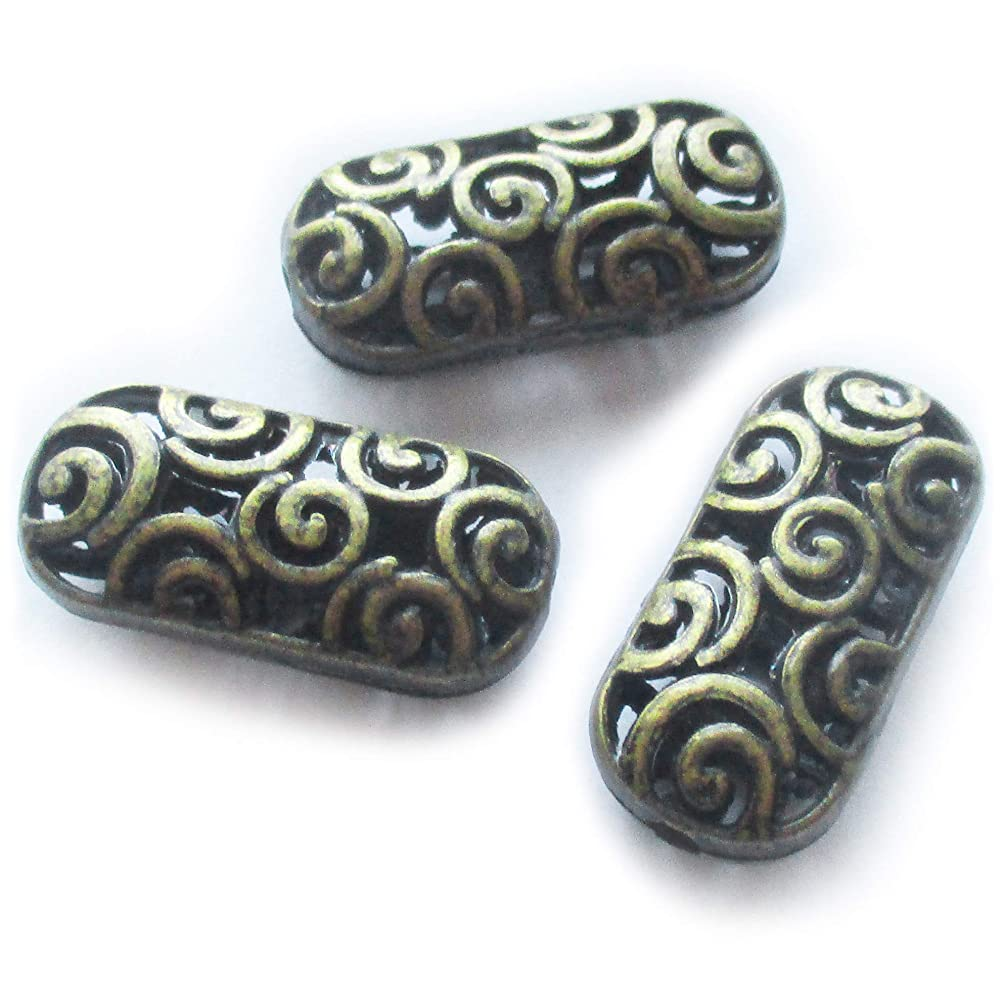 Heather's cf 20 Pcs Bronze Hollow Tibetan Beads for Necklace Making Flat Long Spacer