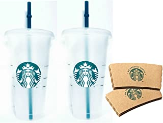 مجموعة من اكواب المشروبات الباردة والمثلجة من ستاربكس قابلة لاعادة الاستخدام بسعة 24 اونصة سائلة، مجموعة من قطعتين