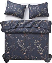 Wake In Cloud - Dark Gray Quilt Set, Birds Floral Flowers Leaves Pattern Printed on Grey, Soft Microfiber Bedspread Coverlet Bedding (3pcs, Queen Size)