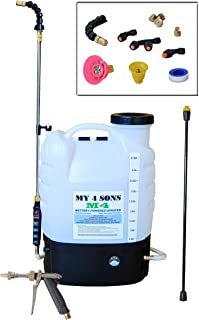 My 4 Sons 4-Gallon Battery Powered Backpack Sprayer Wide Mouth with Steel Wand and Brass Nozzle with cart and Spray Nozzle (Bronze Package Includes Spray Pistol)