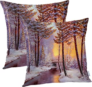 Batmerry Colorful Decorative Pillow Covers 18x18 Inch Set of 2, Winter Landscape with River Bridge Oil Painting Double Sid...