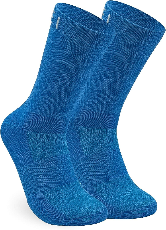 NORTEI Calcetines Azules para Ciclismo, MTB y Running de Caña Alta para Hombre y Mujer – Infinity Blue
