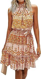 BTFBM لباس های زنانه گلدار گاه به گاه آستین بدون آستین دور یقه کمربند روفل Boho Polka Dot Leopard Print Sun Sun Short Dress