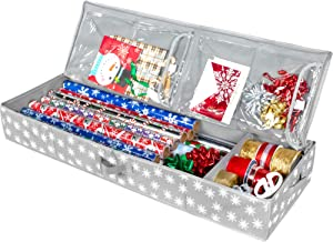 Christmas Storage Organizer - Wrapping Paper Storage and Under-Bed Storage Container for Holiday Storage of Gift Bags, Wrapping Paper, Ribbon, and Bows (Grey/White Snowflake)