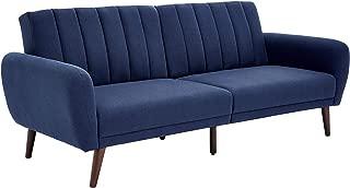 Sunrise Coast Torino Modern Linen-Upholstery Futon with Wooden Legs, Navy Blue