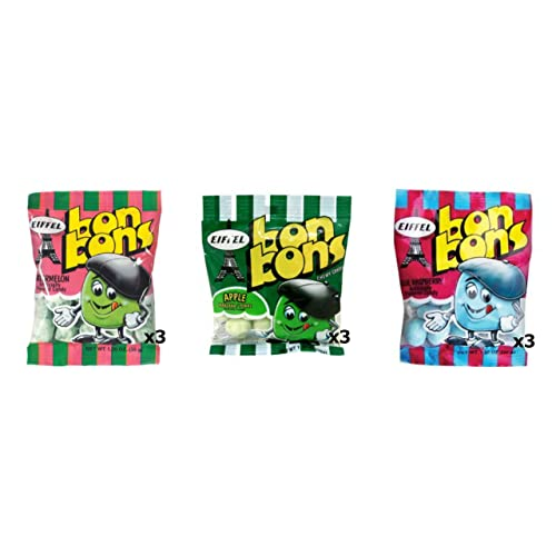 Eiffel Bon Bons 1.25oz 9 Bag Variety Pack - Watermelon, Blue Raspberry, & Apple