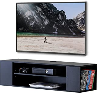 FITUEYES Floating Shelf Entertainment Center Stand Wall Mounted Shelves Black Floating Bracket for PS4, Xbox, TV Box DS210002WB