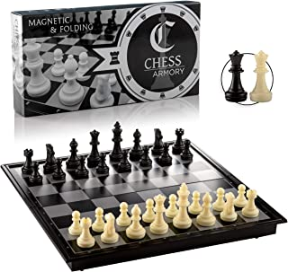 Chess Armoury Magnetic Travel Chess Set Folding Board Game with Extra Queens and Storage for Pieces