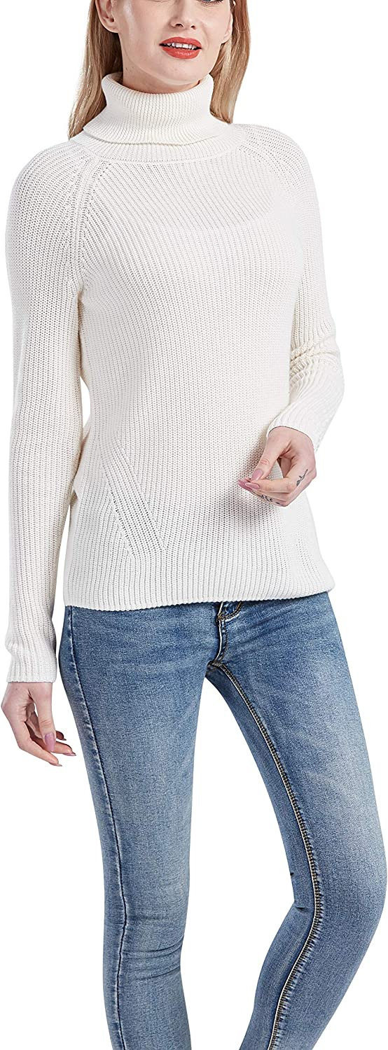 Sale item Gilboa Women's Bombing free shipping 100% Cotton Sweater Pullover Chunky Turtleneck
