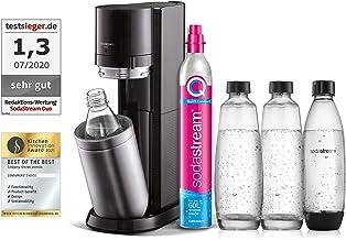 SodaStream Duo vattenbubblor med CO2-cylinder, 2 x 1 l glasflaska och 2 x 1 l diskmaskinssäker plastflaska, höjd: 44 cm, f...