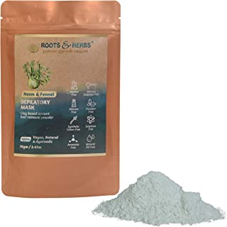 ROOTS AND HERBS Neem and Fennel Depilatory Ubtan (powder) for Hair Removal- Hands, Legs, Underarms, Bikini Area