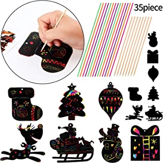 Gejoy Christmas Scratch Ornaments Rainbow Paper Magic Color Scratch Off Tree Reindeer Snowman Hanging Art Craft Supplies, 35 Pieces Colorful Ribbons and 15 Pieces Wooden Stylus
