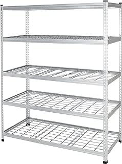 AmazonBasics Heavy Duty Storage Shelving Double Post Steel Wire Shelf, 60 x 24 x 78 Inch, Aluminum