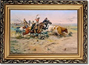 Framed Canvas Print - The Herd Quitter - by Charles Marion Russell