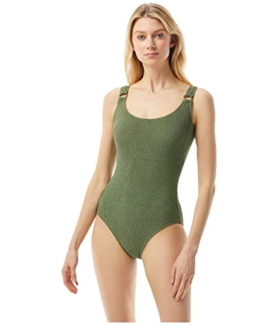 MICHAEL Michael Kors Decadent Texture Logo Ring U-Neck One-Piece (Army Green) Women