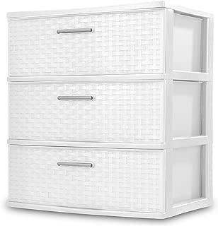 Sterilite 3 Drawers Wide Weave Tower Plastic Storage Organization- White (White) (Wide Drawer)