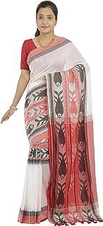 Chhanda Handloom Sarees Women's Khadi Cotton Saree With Blouse Piece (ch 25_White)