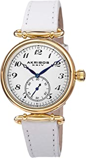 Akribos XXIV Women's 'Impeccable' Swiss Quartz Watch - Clear Arabic Numerals Hour Markers with Second Subdial On Genuine Leather Strap - AK704