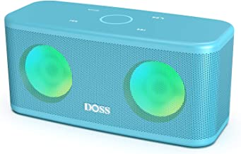DOSS SoundBox Plus Portable Wireless Bluetooth Speaker with HD Sound and Deep Bass, Wireless Stereo Paring, Built-in Mic, 20H Playtime, Portable Wireless Speaker for Phone, Tablet and More-Aquamarine