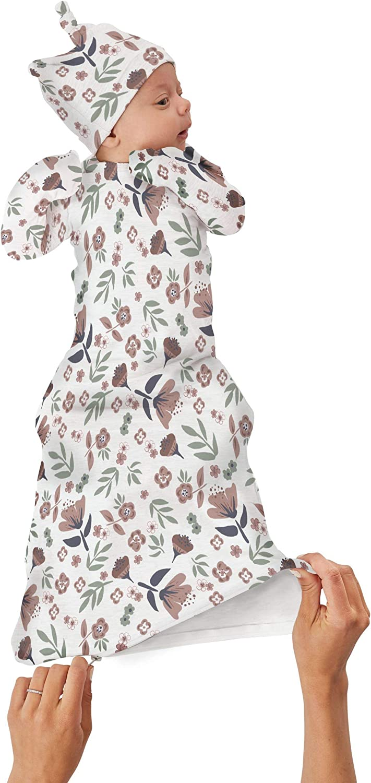 GUNAMUNA Unisex Baby Gown Sleeper, Night Gown with Diaper-Zipper