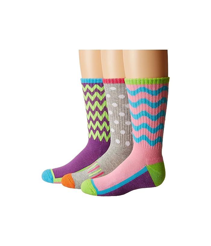 Jefferies Socks Sporty Half Cushion Crew Socks 3 Pair Pack Toddler Little Kid Big Kid Adult