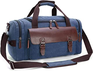 Rubik Travel Duffel Bag, Leather Canvas Crossbody Carry on Weekender Overnight Bag For Travel totes Luggage Sports Gym for Men and Women - Blue