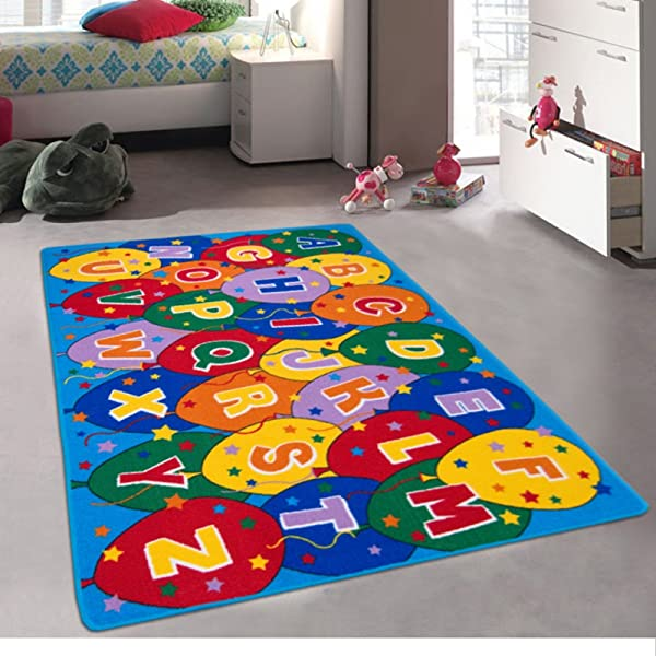 Kids Baby Room Daycare Classroom Playroom Area Rug Alphabet Balloons Educational Fun Non Slip Gel Back Bright Colorful Vibrant Colors 5 Feet X 7 Feet
