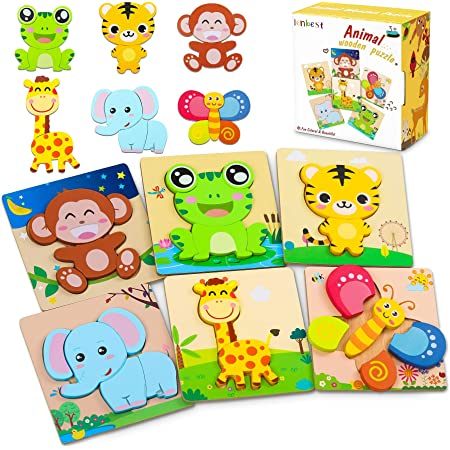 lenbest Wooden Puzzles, 6 Pack Animal Wooden Jigsaw Puzzles Set Educational Montessori Children Puzzle Toys for 3+ Year Olds Kids Toddlers Babies