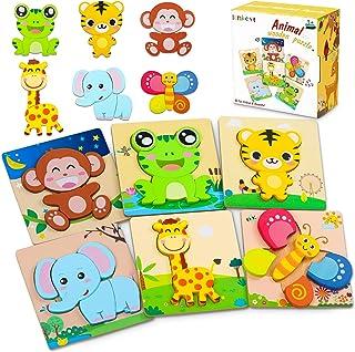 lenbest 6 Piezas 3D Rompecabezas de Madera Animales para Niños, Puzzle de Madera con Fondo Apilable Colorido, Juguetes Mon...