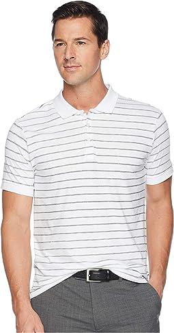 Short Sleeve Stripe Print Jersey Polo