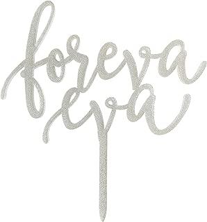 Foreva Eva Wedding Cake Topper, Anniversary Cake Topper, Silver Glitter Acrylic