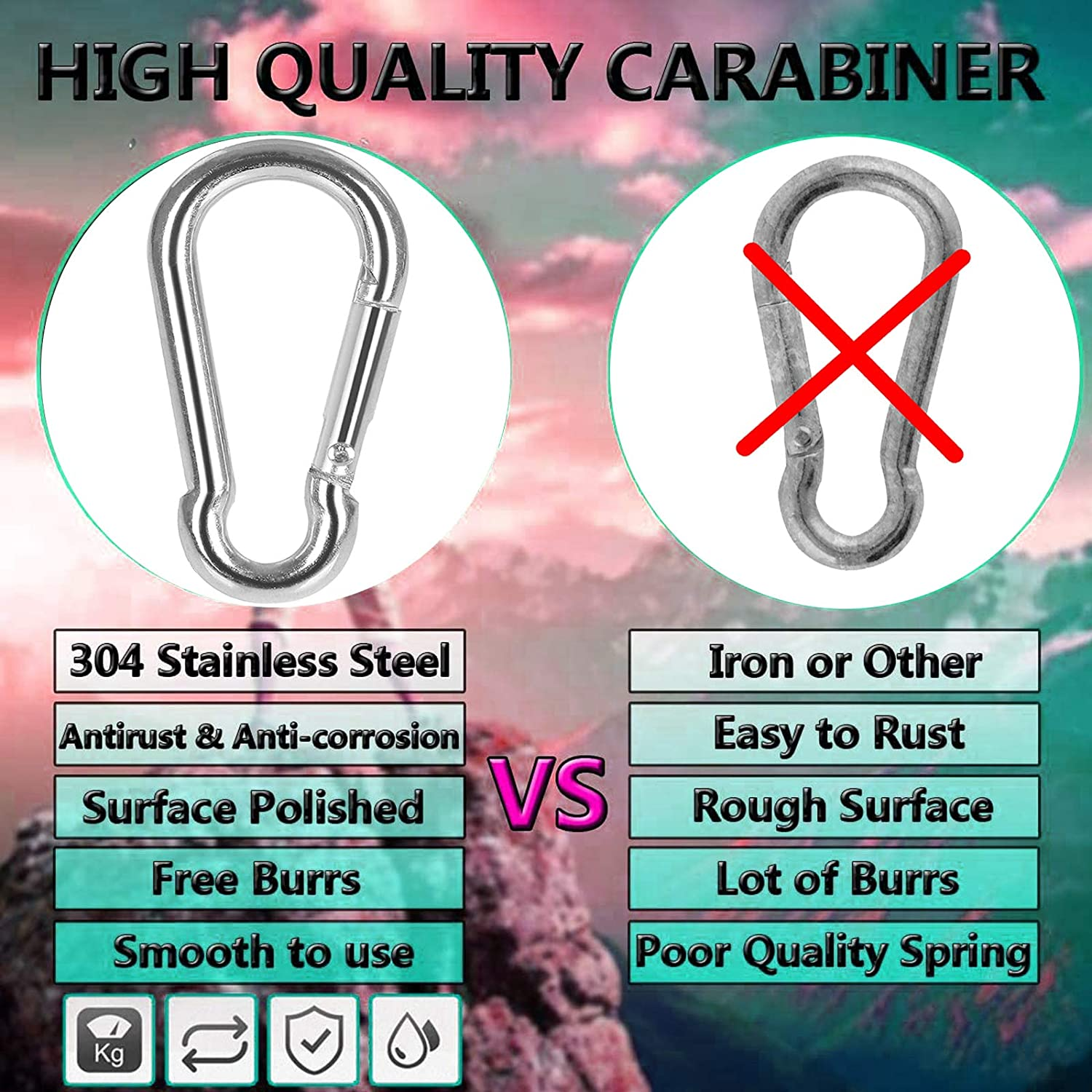 Taeku Stainless Steel Carabiner Clips 3.16 Inch Large D Ring Chain Heavy Duty Quick Link for Outdoor Camping Hiking Traveling Fishing Spring Snap Hooks M8, 4