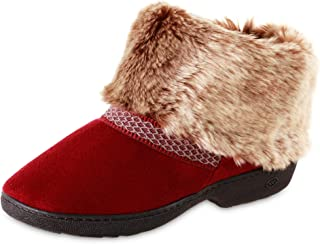 isotoner Women's Recycled Microsuede Mallory Boot Slipper, with Memory Foam, Chili, 7.5-8