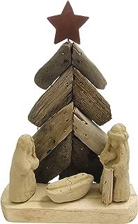 Driftwood Nativity Holy Family Christmas Tree Statue Handmade Coastal Beach House Religious Decoration, 8 Inch