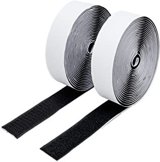 BRAVESHINE Adhesive Sticky Hook and Loop Tape Roll - 0.8 Inch Heavy Duty Fabric Wall Mounting Interlocking Tape- 5 Yards Double Sided Removable Hanging Strips Carpet Gripper Fastener Sheets - Black