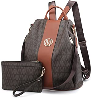 MKP Women Fashion Backpack Purse Mutil Pockets Signature Anti-Theft Rucksack Travel School Shoulder Bag Handbag with Wristlet