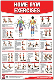 Home Gym Exercises Laminated Poster/Chart: Home Gym Chart, Home Gym Weight Lifting