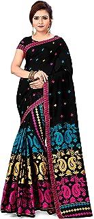 S Kiran's Women's Plain Weave Cotton Saree With Blouse Piece (CottonBlack7045RaniFirozi_Rani,firozi)