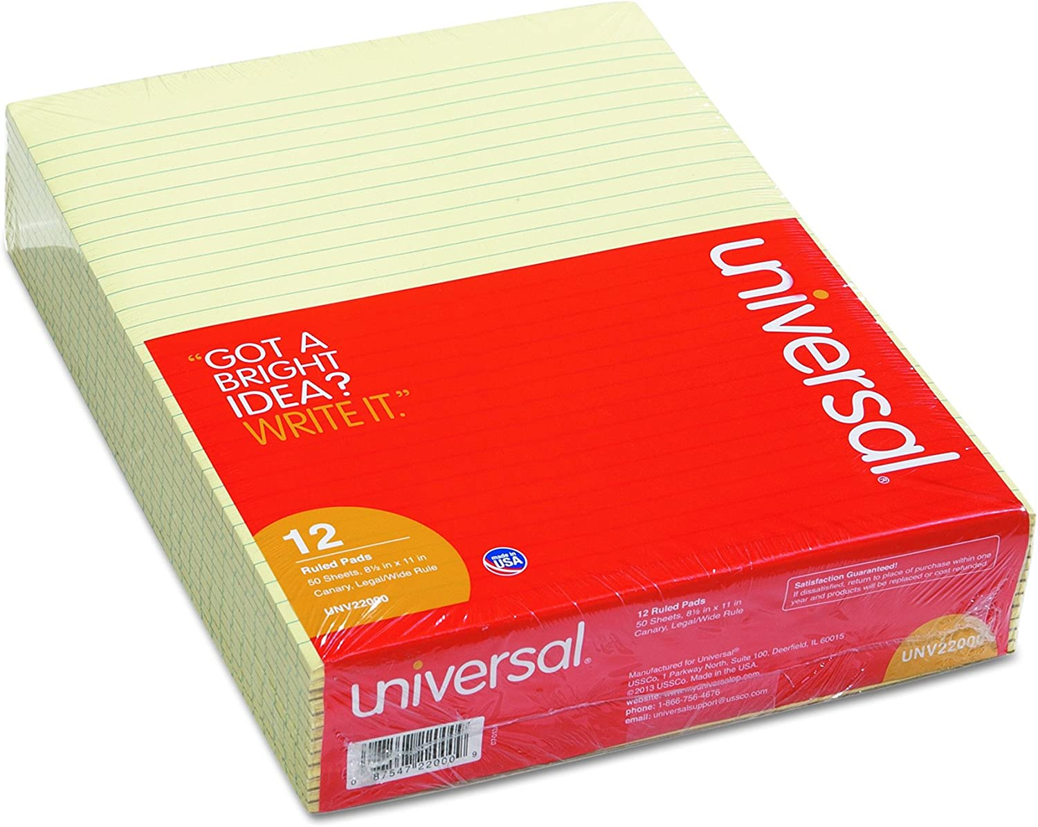 Universal 22000 Glue Top Writing Legal Pads Letter Canar favorite Rule Sale item