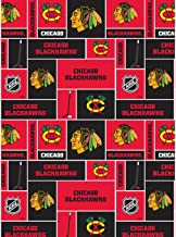 Chicago Blackhawks Cotton Fabric W/Classic Geometric Design-Sold by The Yard