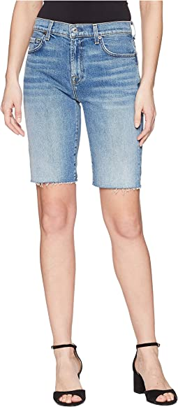 7 For All Mankind High-Waist Bermuda Shorts w/ Cut Off Hem in Desert Oasis 4