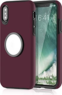 WHOBEE iPhone Xs Case, iPhone X Case with Kickstand, Grip Holder Stand Case Slim Dual Layer Hybrid Protective Bumper Cover with Iron Mirror [Fit Magnetic Mount] for iPhone Xs/X/10 5.8 Inch- Wine Red