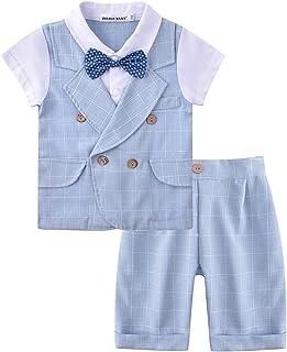 ZOEREA Baby Junge Anzug 2 TLG Gentleman Kleidung kurzen Ärmeln mit Bowtie Jungen Kleidung Gentleman Baumwolle Sommer Taufe Hochzeit