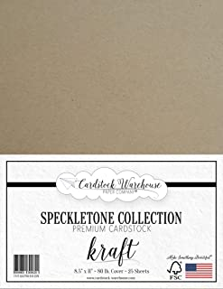 Kraft SPECKLETONE Recycled Cardstock Paper - 8.5 x 11 inch - Premium 80 LB. Cover - 25 Sheets