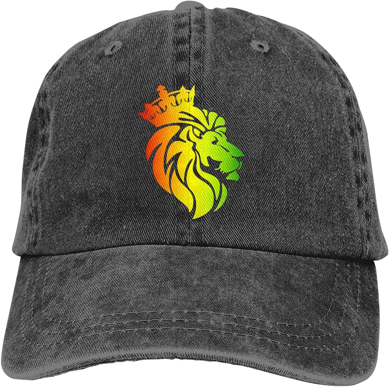 CUTEDWARF Rasta Lion Crown Unisex Adjustable Cotton Baseball Hat Cowboy Cap Dad Hats Denim Trucker Hat