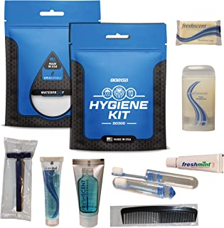 Go2Kits Hygiene Toiletry Kits for Travel, Business, Charity Made in USA (1 Pack)