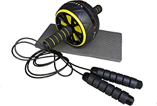 Mob-9 Roller - Ab Wheel with Knee Mat and Jump Rope - Home Workout Gym Equipment - Ab Workout Exercise Fitness Equipment A...
