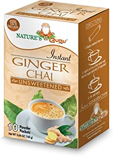 Nature's Guru Instant Ginger Chai Tea Drink Mix Unsweetened 10 Count Single Serve On-the-Go Drink Packets
