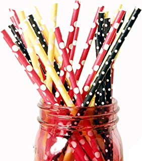 Charmed Red Yellow and Black Polka Dot Paper Straw 75pk