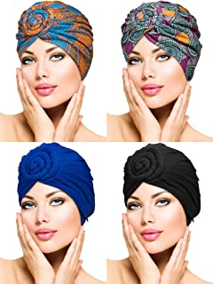 WILLBOND 4 Pieces Turban Flower Head Wrap Beanie Scarf Cap Hair Loss Hat for Men and Women